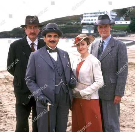 Philip Jackson as Chief Inspector Japp, David Suchet as Hercule Poirot, Pauline Moran as Miss Lemon and Hugh Fraser as Captain Hastings