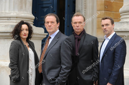 Stock Image of Kevin Whately as DI Lewis, Lucy Cohu as Marion Hammond, Gary Kemp as Tom Garland and Ciaran McMenamin as Nick Addams.