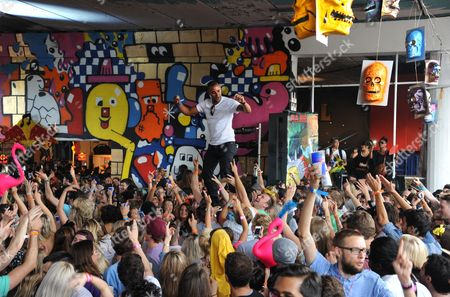 Dai Greene crowd surfing
