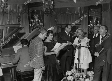 A Rehearsal Of 'variety'. Conducted By Mantovani Extreme Right And With Liberace At The Piano The Other Singing Stars Are From Left: Adam Faith Connie Francis Edmundo Ros Joan Regan And Victor Silvester.