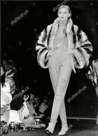 Model Wearing Claude Montana Outfit At Fashion Show In Paris.