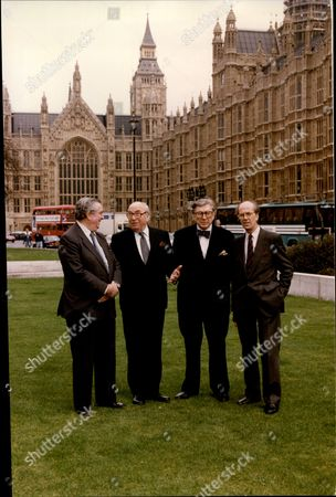 Editorial picture of Dennis Healey Lord Roy Jenkins Sir Robin Day And Norman Tebbitt Pose For The Bbc Election Team.