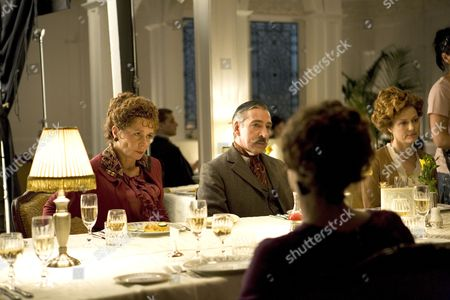 Celia Imrie, Miles Richardson and other cast members rehearsing a scene