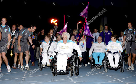 Sally Haynes carries the Paralympic torch
