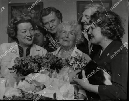 Editorial image of Ellaline Terriss Lady Seymour Hicks Seen Here On Her 89th Birthday At Home In Richmond With From Left: Margot Grahame Robert Stuart Mrs Thomas Carthew Mrs Cyril Lomax And Mrs Spilbane (her Daughter).