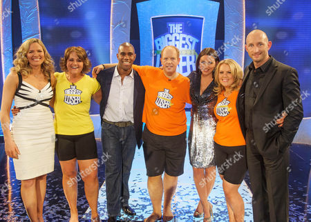Davina McCall with The Biggest Loser winner Kevin  (l-r) Trainer Charlotte Ord, Sarah, Trainer Richard  Callender, Kevin Davina McColl Amy Mac and Trainer Rob Edmond