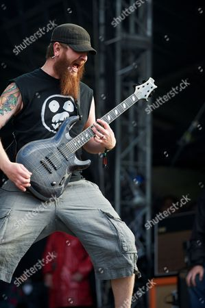 Donington United Kingdom - June 9: Guitarist Joel Stroetzel Of American Heavy Metal Group Killswitch Engage Performing Live On The Zippo Encore Stage At Download Festival On June 9