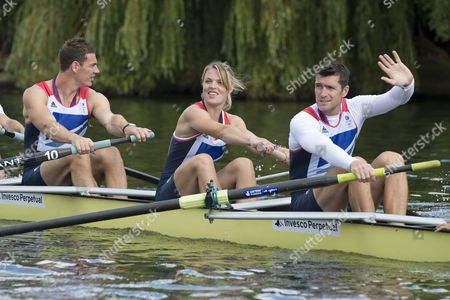 Stock Picture of Richard Egington (Bronze medalist) Anna Watkins (Gold medalist) and Greg Searle (Bronze medalist) taking part in a row past on the River Thames at Henley