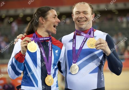 Team GB Cycling couple Sarah and Barney Storey and their collection of medals