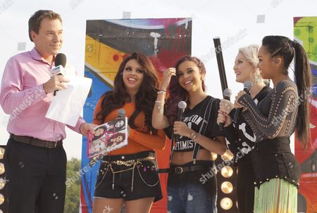 Richard Arnold with Little Mix - Jesy Nelson, Jade Thirwell, Perrie Edwards and Leigh-Anne Pinnock