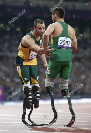 Oscar Pistorius coming second in the Men's 200M T44 to Brazilian Alan Oliveira