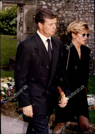 Editorial picture of Racing Driver Derek Warwick Consoles His Sister Linda At The Funeral Of Paul Warwick.