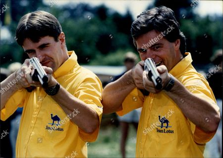 Racing Drivers Derek Warwick And Martin Donnelly At Silverstone With Guns.