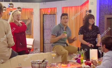 Julie Goodyear, Ashley McKenzie and Coleen Nolan dancing during the party