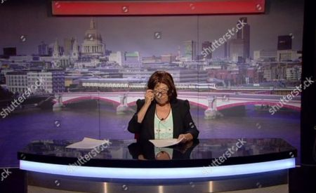Julie Goodyear reading the news
