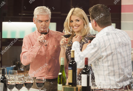 Stock Photo of Phillip Schofield and Holly Willoughby with Guy Woodward