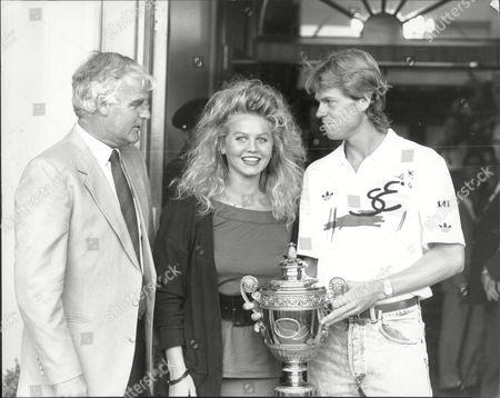 Tennis Player Stefan Edberg His Girlfriend Annette Olsen And Coach Tony Pickard.