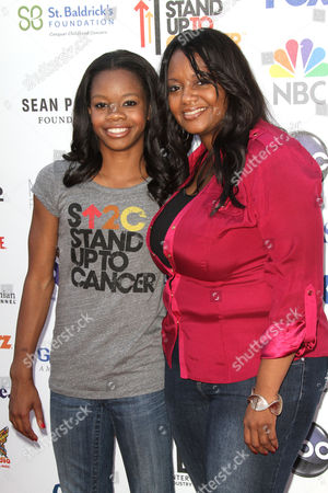Stock Photo of Gabby Douglas and her mother Natalie Hawkins