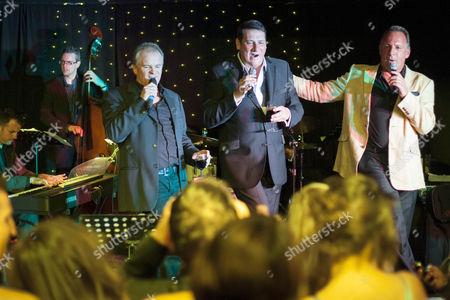 Stock Picture of Bobby Davro, Tony Hadley and Mark Adam sing