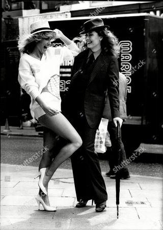 Fashion Women 1981 Model's Rachel (right) And Alison Macleod Wearing Fashions From Tariq's Fashion Show At Stringfellows.