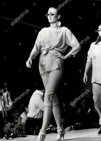 Fashion Women 1980 Model On Catwalk Wearing Chantal Thomas Fashions.