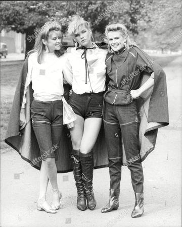 Fashion Women 1981 Model's Wearing Vidal Sassoon Denim Fashions L-r Janet Murray Kristen Redler And Karen Watkins.