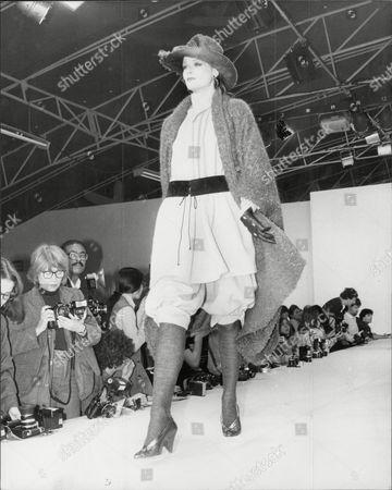 Fashion Women 1981 Model On Catwalk Wearing Chantal Thomas.