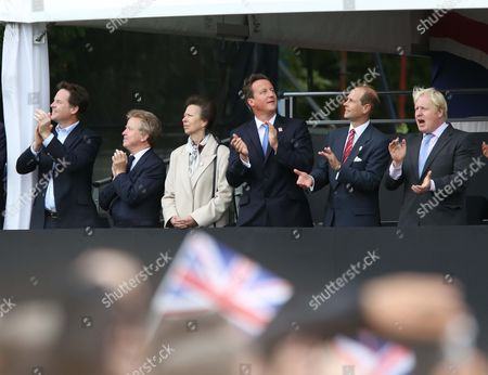 Nick Clegg, Colin Moynihan, Princess Anne, David Cameron, Prince Edward and Boris Johnson