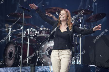 Donington United Kingdom - June 8: Vocalist Anette Olzon Of Finnish Symphonic Metal Group Nightwish Performing Live On The Zippo Encore Stage At Download Festival On June 8