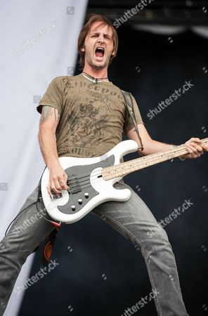London United Kingdom - July 12: Jon Lawhon Of American Hard Rock Band Black Stone Cherry Performing Live Onstage At Hard Rock Calling Festival July 12