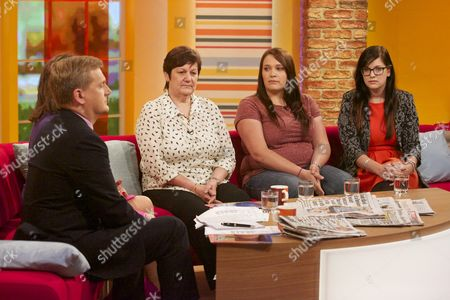 Aled Jones and Lorraine Kelly with Jane, Lauren and Beth Nicklinson