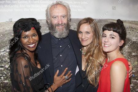 Jenny Jules (Regan), Jonathan Pryce (King Lear), Zoe Waites (Goneril) and Phoebe Fox (Cordelia)