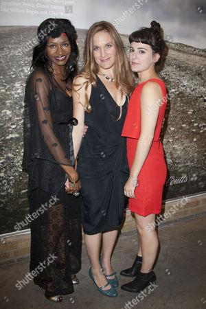 Stock Image of Jenny Jules (Regan), Zoe Waites (Goneril) and Phoebe Fox (Cordelia)