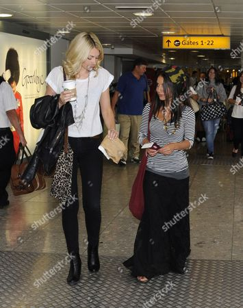 Editorial image of The girlfriends and wives of band Mcfly fly out of Heathrow Airport to New York for a reunion, London, Britain - 12 Sep 2012