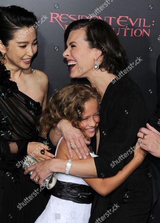 Stock Picture of Li Bingbing, Milla Jovovich and Aryana Engineer