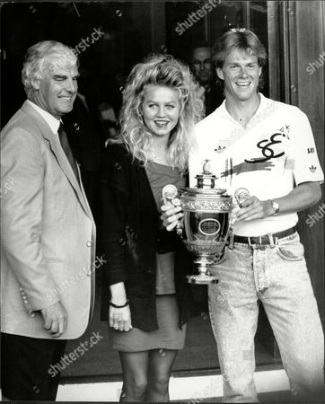 Stefan Edberg With His Girlfriend Annette Owens And Coach Tony Pickard And The Wimbledon Men's Singles Trophy.