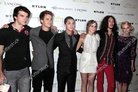 Adam Hagenbuch, Johnny Simmons, Logan Lerman, Emma Watson and Ezra Miller
