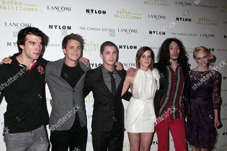 Adam Hagenbuch, Johnny Simmons, Logan Lerman, Emma Watson and Ezra Mill