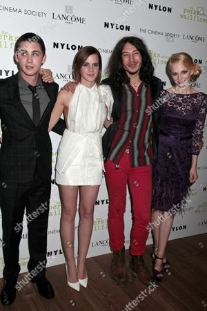 Logan Lerman, Emma Watson, Ezra Miller and Erin Wilhelmi