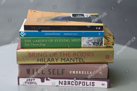 The shortlisted books for the 2012 Man Booker Prize: Umbrella by Will Self Bring up the Bodies by Hilary Mantel The Garden of Evening Mists by Tan Twang Eng The Lighthouse by Alison Moore Narcopolis by Jeet Thayil Swimming Home by Deborah Levy