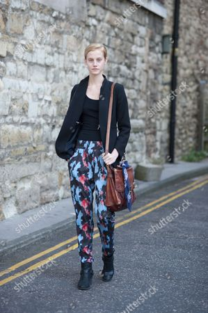 Editorial picture of Street style, Spring Summer 2013, London Fashion Week, Britain - Sep 2012