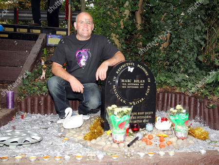 Fan Keith Corfield remembers glam rock legend Marc Bolan at the site of his death in a car crash