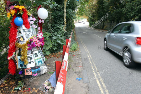 A car speeds past the site as fans remember glam rock legend Marc Bolan at the site of his death in a car crash