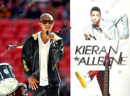 Kieran Alleyne performing before kick-off