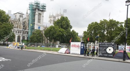 Editorial image of The Empty Space That Was Once Filled With The Hoardings And Protest Placards Of Peace Campaigner Brian Haw Who Used His Right To Protest In Parliament Square For Almost 10yrs Picture By Glenn Copus.