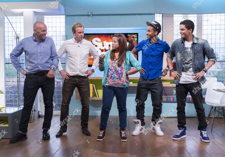 Tim Lovejoy and Simon Rimmer dancing with Cover Drive - Amanda Reifer, T-Ray Armstrong, Barry Bar-Man Hill and Jamar Harding