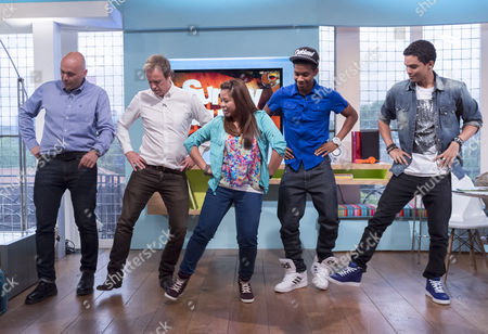 Stock Image of Tim Lovejoy and Simon Rimmer dancing with Cover Drive - Amanda Reifer, T-Ray Armstrong, Barry Bar-Man Hill and Jamar Harding