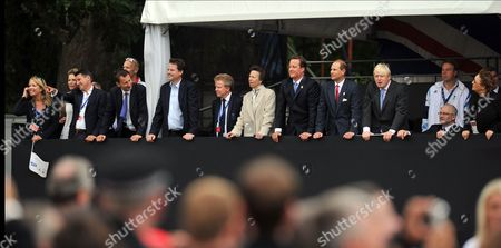 Stock Photo of Lord Sebastian Coe, Jeremy Hunt, Nick Clegg, Lord Colin Moynihan, Princess Anne, David Cameron, Prince Edward and Boris Johnson