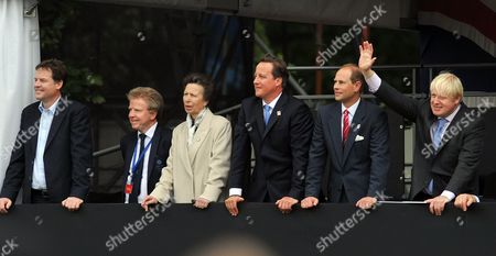 Nick Clegg, Lord Colin Moynihan, Princess Anne, David Cameron, Prince Edward and Boris Johnson