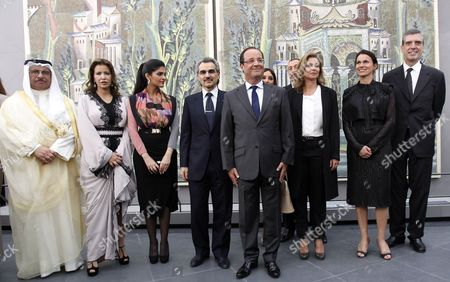 Moroccan Princess Lalla Meryem, Princess Amira al-Taweel, Saudi billionaire Prince Waleed bin Talal, French President Francois Hollande, Valerie Trierweiler and Culture minister Aurelie Filippetti